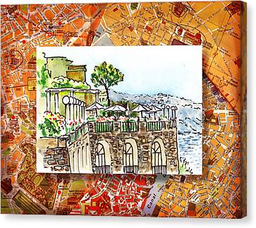 Italy Sketches Sorrento Cliff Canvas Print