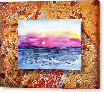 Italy Sketches Sorrento Sunset Canvas Print by Irina Sztukowski