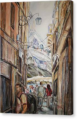 Canvas Print featuring the painting Italy Travelers by Becky Kim