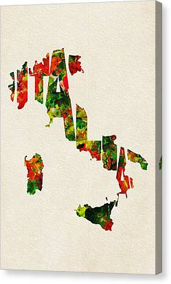 Italy Typographic Watercolor Map Canvas Print by Ayse Deniz