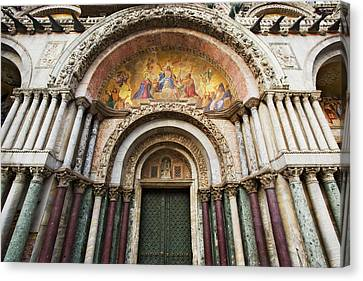 Italy, Venice Detail Of The Carvings Canvas Print by Jaynes Gallery