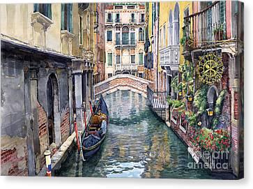 Italy Venice Trattoria Sempione Canvas Print by Yuriy Shevchuk