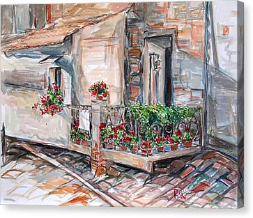 Canvas Print featuring the painting Italy Visit Over The Window by Becky Kim