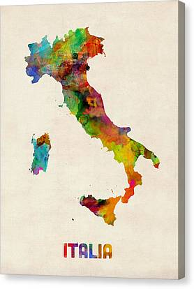 Italy Watercolor Map Italia Canvas Print by Michael Tompsett