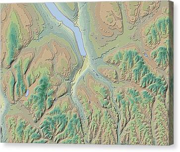 Finger Lakes Canvas Print - Ithaca Contour Map by Paul Hein
