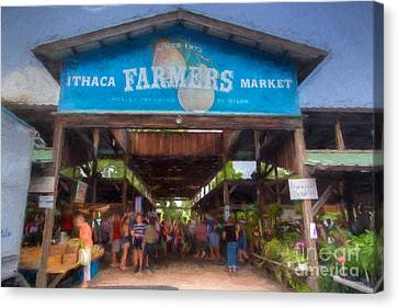 Finger Lakes Canvas Print - Ithaca Farmer's Market by Michele Steffey