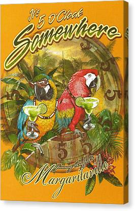 Parrots Canvas Print - It's 5 O'clock Somewhere by Desiderata Gallery