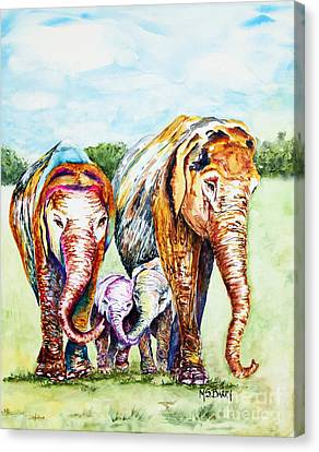 Canvas Print featuring the painting It's A Family Affair by Maria Barry