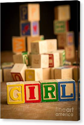 Its A Girl - Alphabet Blocks Canvas Print by Edward Fielding