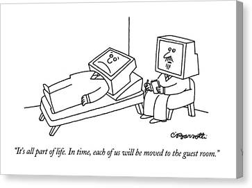 Tv Set Canvas Print - It's All Part Of Life.  In Time by Charles Barsotti