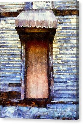 It's Been So Long - Abandoned Farm House Door Canvas Print by Janine Riley