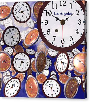 It's Raining Clocks - Los Angeles Canvas Print by Nicola Nobile