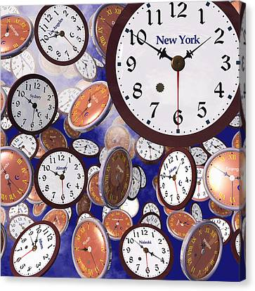 It's Raining Clocks - New York Canvas Print by Nicola Nobile
