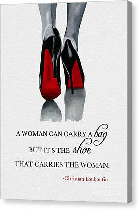 It's The Shoe That Carries The Woman Canvas Print