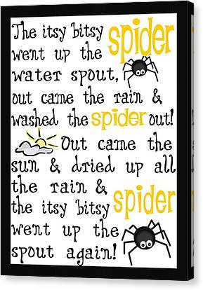 Itsy Bitsy Spider Canvas Print by Jaime Friedman
