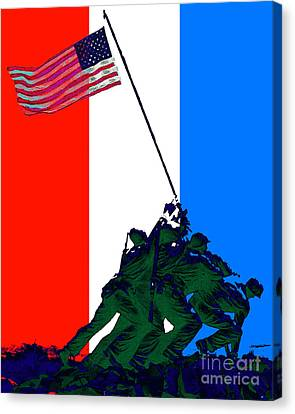 Iwo Jima 20130210 Red White Blue Canvas Print by Wingsdomain Art and Photography