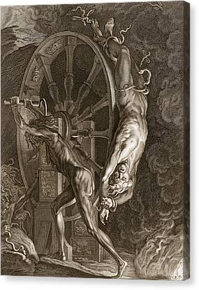 Spin Canvas Print - Ixion In Tartarus On The Wheel, 1731 by Bernard Picart