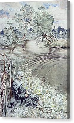 Izaak Walton Reclining Against A Fence Canvas Print by Arthur Rackham