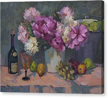 J. P. Chenet And Peonies Canvas Print by Diane McClary