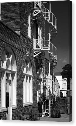 Jacaranda Hotel Fire Escape Canvas Print by Beverly Stapleton
