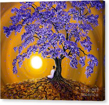 Jacaranda Sunset Meditation Canvas Print by Laura Iverson