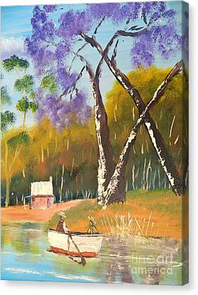 Canvas Print featuring the painting Jacaranda Tree by Pamela  Meredith