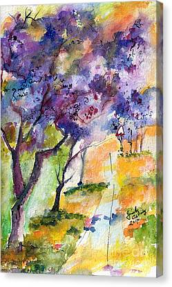 Jacaranda Trees Watercolor And Ink By Ginette Canvas Print by Ginette Callaway