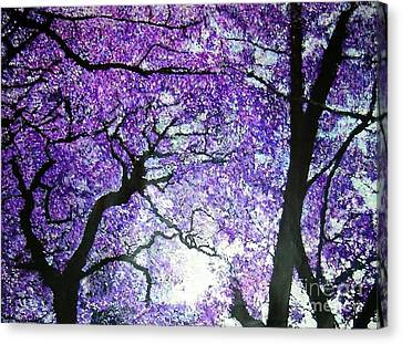 Canvas Print featuring the painting Jacarandas By The River by Marie-Line Vasseur