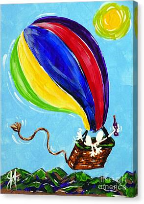 Canvas Print featuring the painting Jack And Charlie Fly Away by Jackie Carpenter