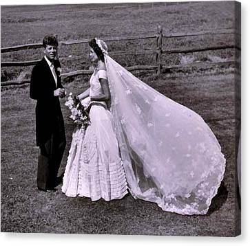 Jack And Jackie Kennedy Wedding Canvas Print by Toni Frissell