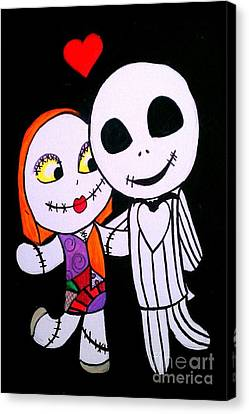 Canvas Print featuring the painting Jack And Sally by Marisela Mungia
