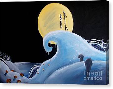 Jack And Sally Snowy Hill Canvas Print by Marisela Mungia
