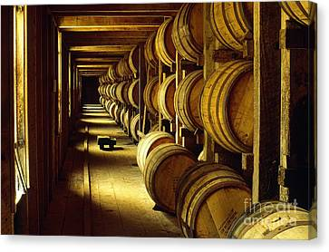 Jack Daniel Whiskey Maturing In Barrels In Old Warehouse At The Lynchburg Distillery Tennessee Usa Canvas Print by David Lyons