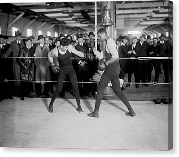 Jack Dempsey Sparring Canvas Print by Underwood Archives