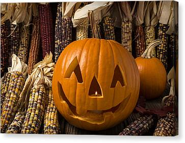 Jack-o-lantern And Indian Corn  Canvas Print by Garry Gay