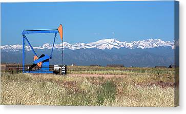 Jack Pump At An Oil Well Canvas Print by Jim West