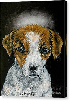 Jack Russell Terrier Angel Canvas Print by Jay  Schmetz