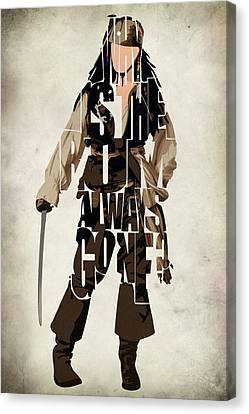 Jack Sparrow Inspired Pirates Of The Caribbean Typographic Poster Canvas Print by Ayse Deniz