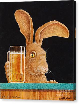 Beer Canvas Print - Jack With A Beer Back... by Will Bullas