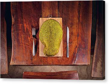 Jackfruit On Table Canvas Print by Ktsdesign