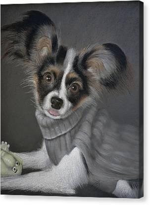 Jackie In His Sweater - Pastel Canvas Print by Ben Kotyuk