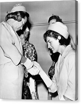 First Lady Canvas Print - Jackie Inspects Gold Bracelet by Underwood Archives