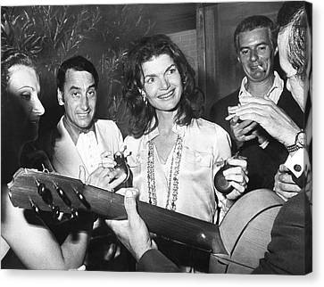 Jackie Kennedy Playing Music Canvas Print by Underwood Archives
