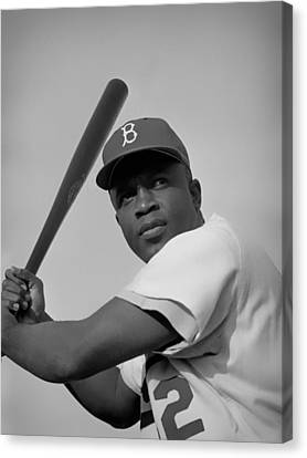 Jackie Robinson - 1954 Canvas Print by Mountain Dreams