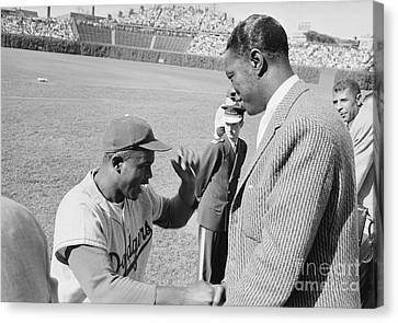Jackie Robinson And Nat King Cole At Wrigley Field Canvas Print