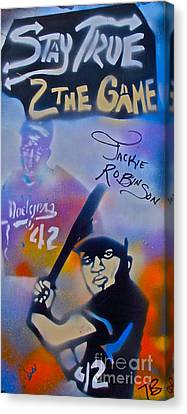 Jackie Robinson Blue Canvas Print by Tony B Conscious