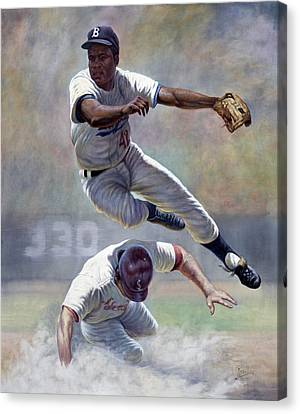 National League Canvas Print - Jackie Robinson by Gregory Perillo