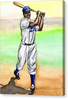 Jackie Robinson Canvas Print by Mel Thompson