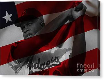 Jackie Robinson Number 42 Canvas Print by Marvin Blaine