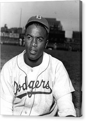 Brooklyn Dodgers Canvas Print - Jackie Robinson Portrait by Gianfranco Weiss